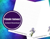 Letter Writing Printable Paper Stationary Watercolor Iris With Comforting Scripture Lined and Unlined Digital Download