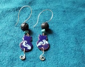 Blue Cat Essential Oil Diffuser Earrings, Copper Enamel with Lava Stone and Amethyst makes a Unique Artisan   Aromatherapy Jewelry Gift