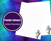 Printable Watercolor Purple Iris Stationery  Lined and Unlined Letter Writing Paper Digital Download