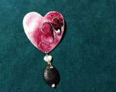 Essential Oil Diffuser Copper Enamel Heart Pin with Mother of Pearl and Lava Stone makes a Unique Aromatherapy Jewelry Gift