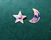Pink and Purple Copper Enamel Crescent Moon and Star Stud Earring, Unique Gift, Unique Kiln Fired Artisan Statement Jewelry Gift