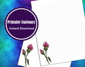 Letter Writing Printable Paper Stationary Watercolor Thistle Lined and Unlined Digital Download