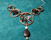 Essential Oil Diffuser Necklace, Wire Wrapped with Lava Stone Teardrop and Gemstone Stars makes a Unique Aromatherapy Jewelry Gift