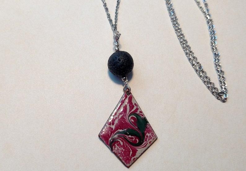 Red Diamond Essential Oil Diffuser Necklace Copper Enamel image 0