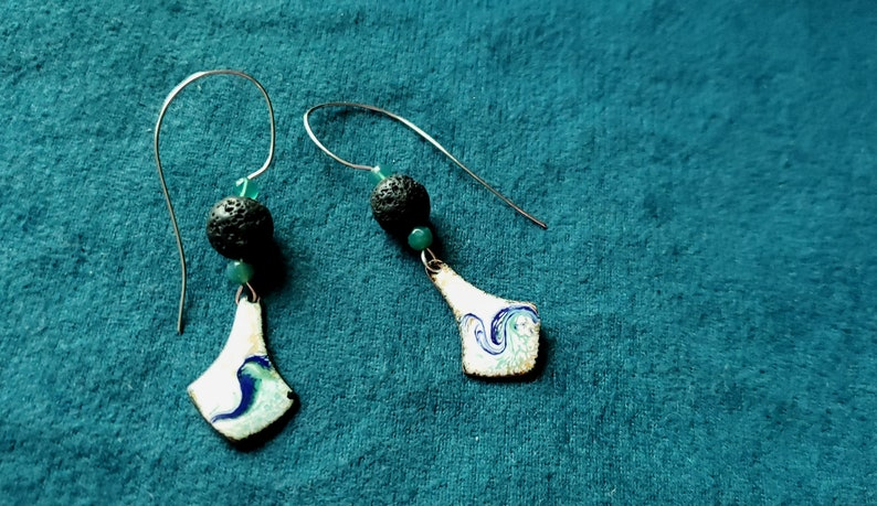 Essential Oil Diffuser Earrings Copper Enamel with Lava Stone image 0