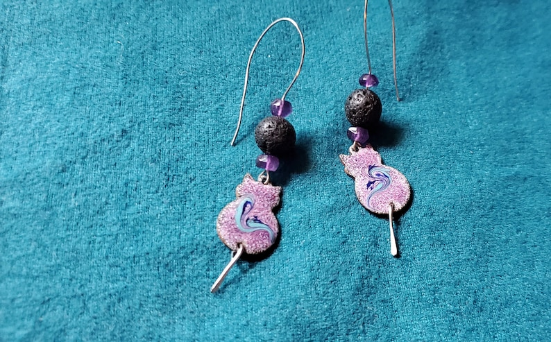 Purple Cat Essential Oil Diffuser Earrings Copper Enamel with image 0