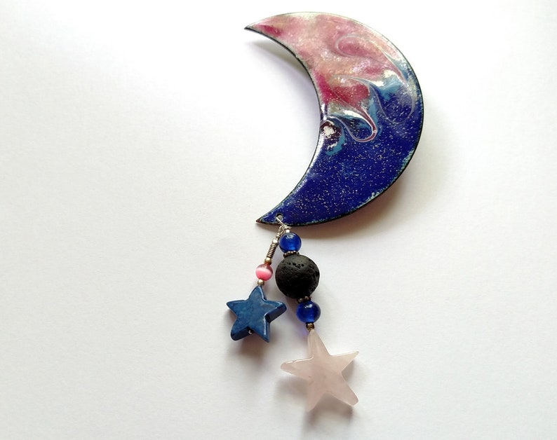 Essential Oil Diffuser Crescent and Star Copper Enamel Pin image 0