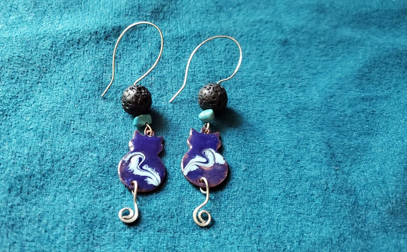 Blue Cat Essential Oil Diffuser Earrings Copper Enamel with image 0