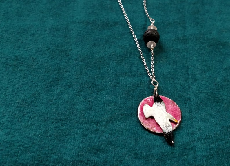 Seagull Essential Oil Diffuser Necklace Copper Enamel with image 0