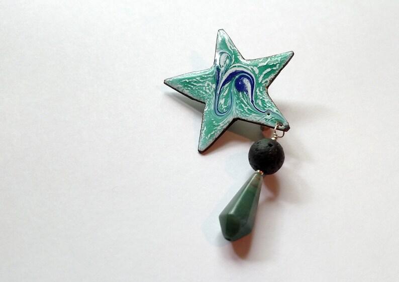 Essential Oil Diffuser Copper Enamel Star Pin with Lava Stone image 0