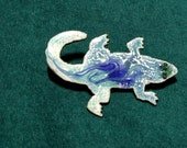 Copper Enamel Alligator Pin, Unique, one of a kind, Kiln Fired Artisan Jewelry Gift