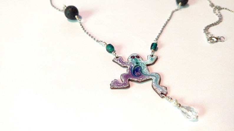 Copper Enamel Frog Essential Oil Diffuser Necklace with Lava image 0
