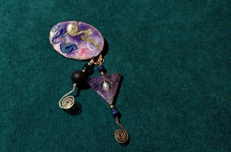 Essential Oil Diffuser Pin Copper Enamel Cloisonne with Lava image 0