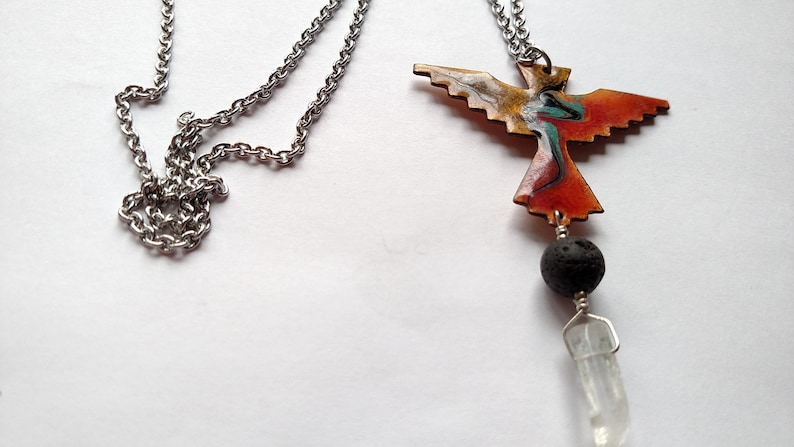 Thunderbird Diffuser Necklace Copper Enamel with Lava Stone image 0