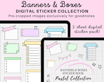 Banners & Boxes Digital Planner Stickers for GoodNotes, Digital Stickers, PDF, Digital Planning,