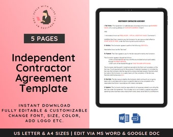 Independent Contractor Agreement   Contractor Agreement   Freelancer Service Agreement   Virtual Assistant Service Agreement