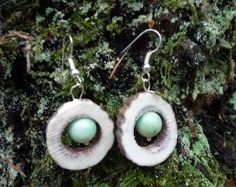 Jade and red deer antler small hoop earrings