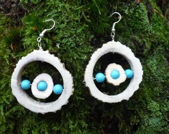 Turquoise Red Antler hoop earrings