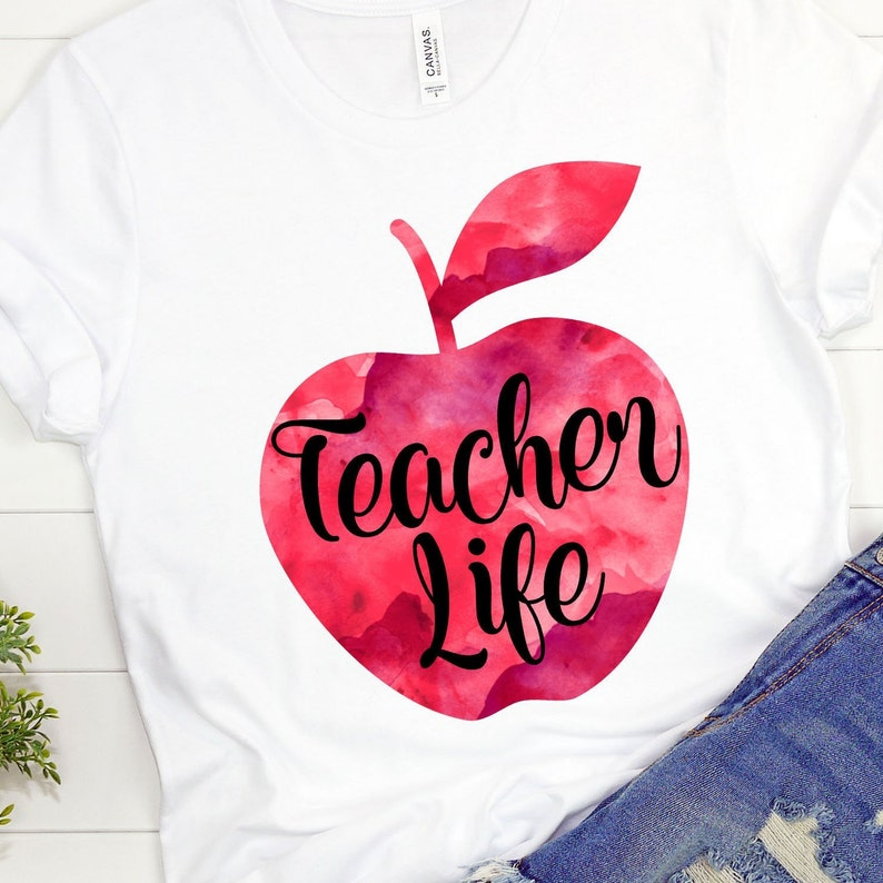Print and Cut PNG Download Watercolor Teacher Apple Teaching Download Sublimation Download Teacher Life Teacher Sublimation Design