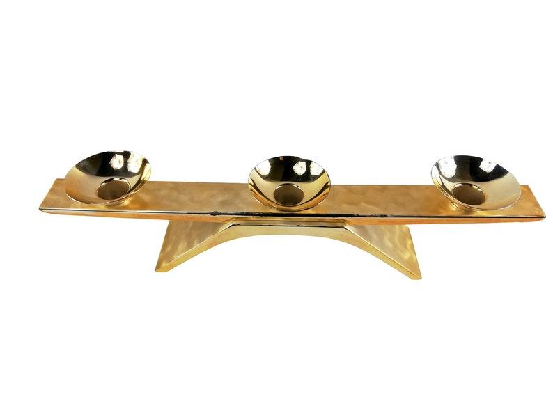 golden table decor 3 lights Regency candle holder