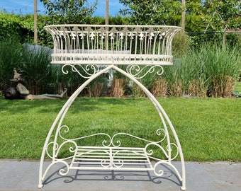 Large wrought iron flower rack / planter on stand - Wrought iron garden decoration
