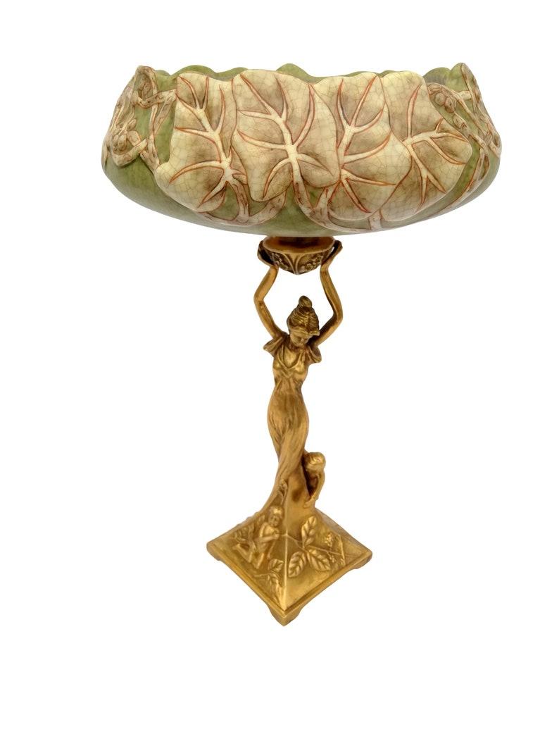 presentation scale table decoration Art nouveau porcelain /& bronze centerpiece
