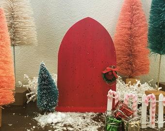 Plain Red Sparkly Elf Door