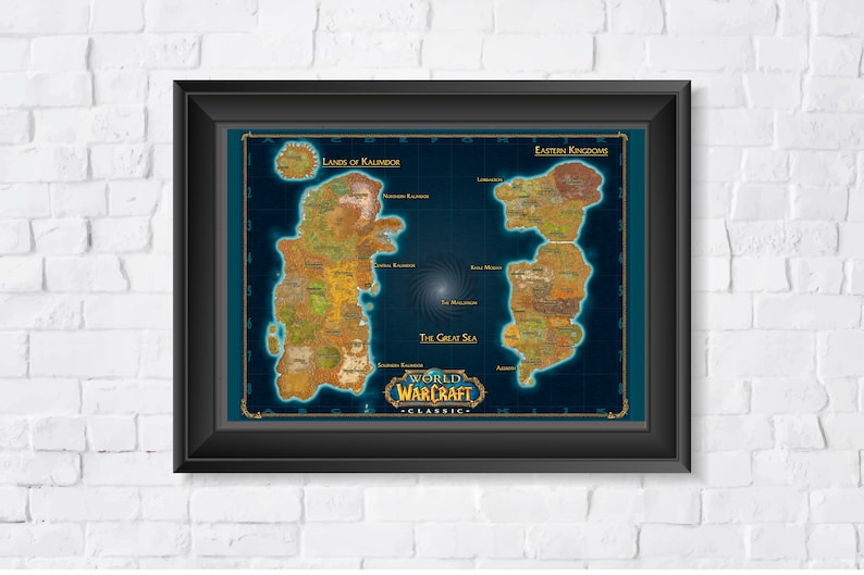 World of Warcraft Classic Zones Map A1 841x594mm HP Photo image 0