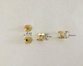 10 Vintage screws,Chicago screws,brass Chicago screws,gold silver Chicago screws,concho screws,leather craft screws,hexagon Chicago screws,