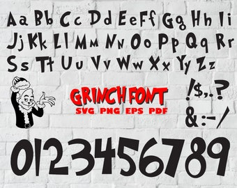 grinch font svg grinch alphabet grinch letters grinch numbers symbols christmas font grinch numbers svg font ttf silhouette png dxf
