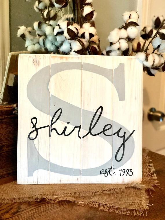 Family Initial Light Gray Family Name on Wooden Slats Large Family Monogram Wedding Gift Wooden Slats Family Name on Shiplap