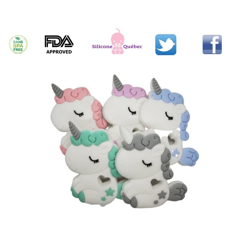 unicorn cartoon teethersilicone teetherpacifier clipshower image 0