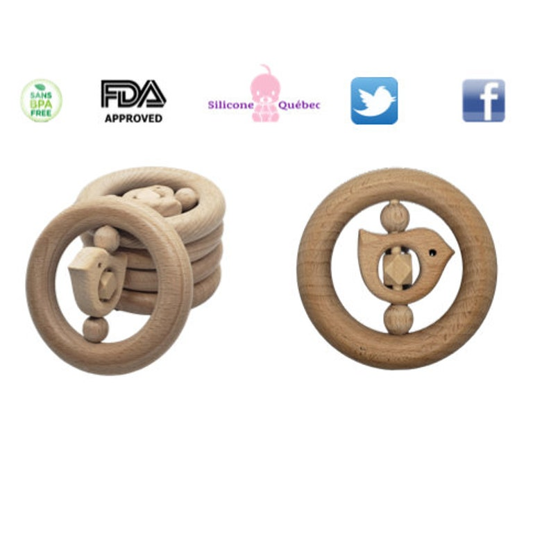 Natural Wood rattle toy Circles natural Wood  Baby Teether image 0