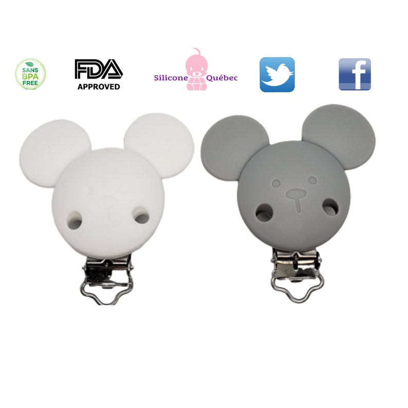 pacifier clip mouse ears  made of silicone 52mm with ears image 0