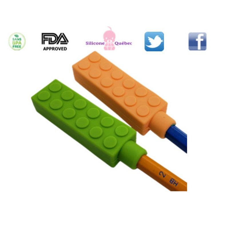 Pencil topper pencil chew sensory toy lego pendant lego image 0