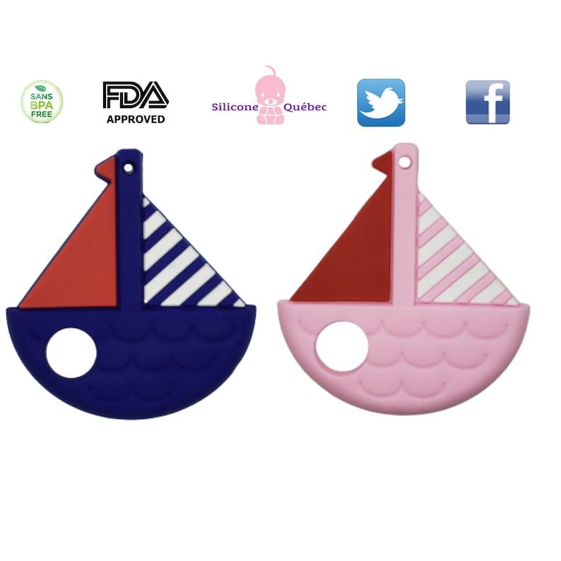 Sailboat teething toyboat  teether siliconebaby shower image 0