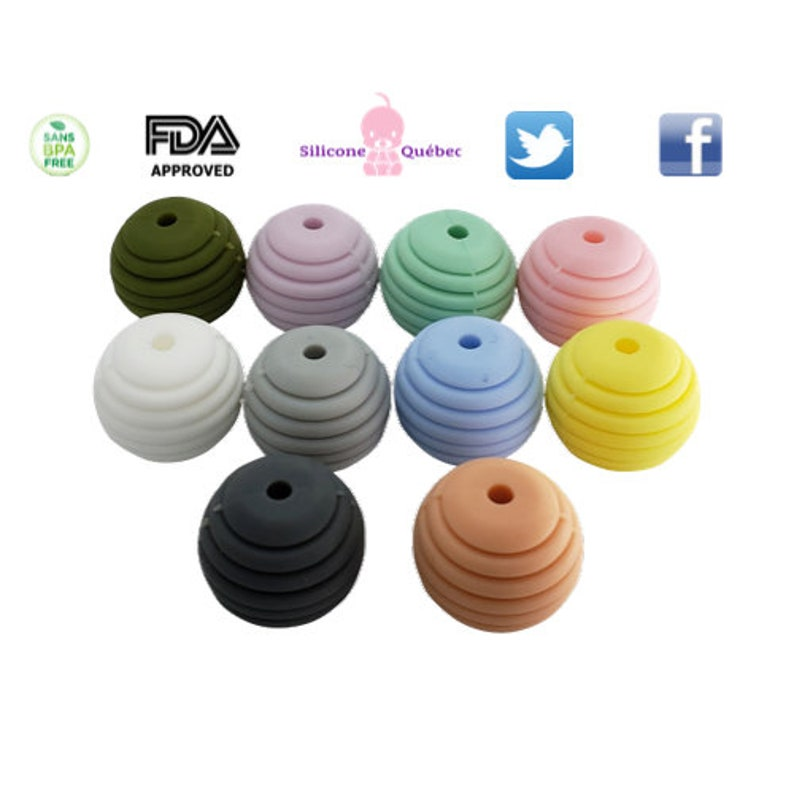 round 18mm with lines beads teething teether baby shower image 0