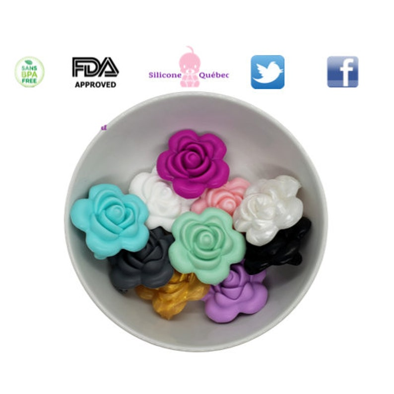 roses 38mm  teething teether baby shower gift image 0