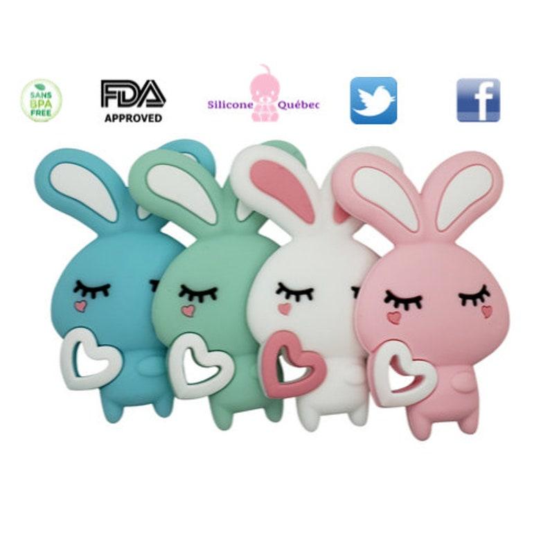 Rabbit teething toycartoon rabbit teether siliconebaby image 0