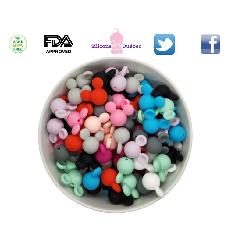 mouse ears 15 mm silicone beads mickey mouseteething Menthe