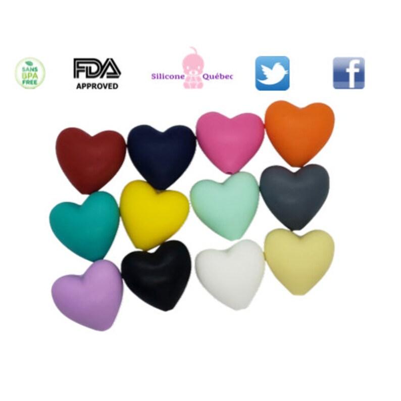 Heart shape bead 20mm teething teether baby shower gift image 0