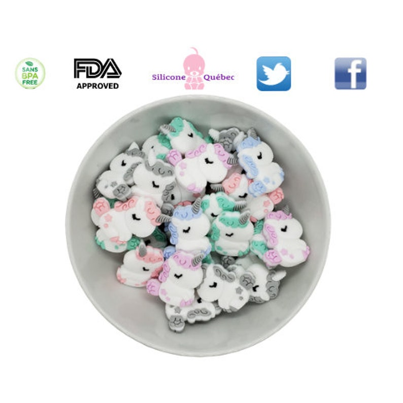 Silicone unicorn cartoon beadpacifier clipshower gifttoy image 0