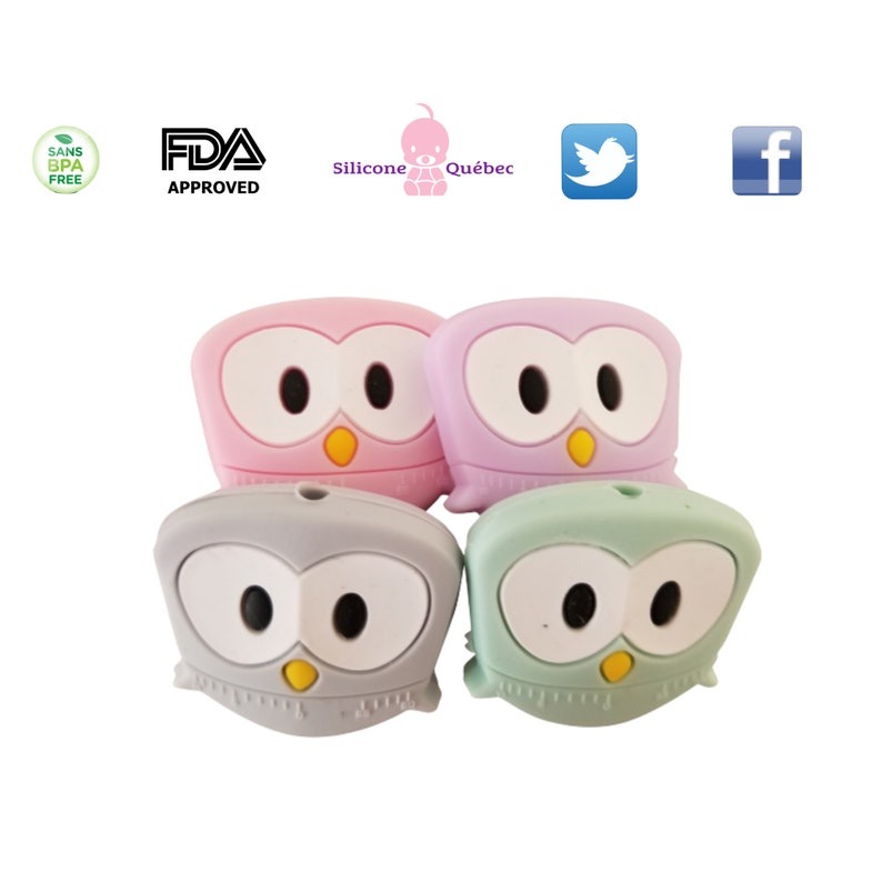 Silicone owl beadpacifier clipshower gifttoy clip image 0