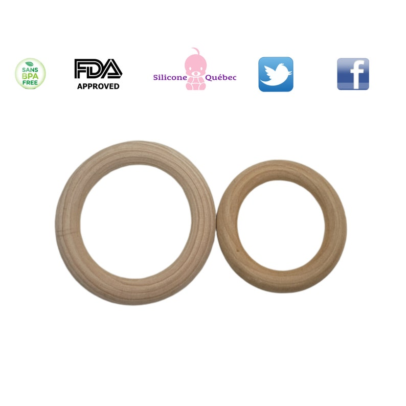Natural Wood Rings7cm or 70mm Wooden Circles natural Wood image 0