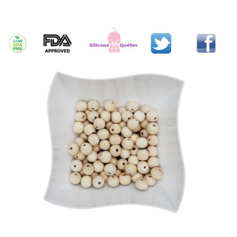 round wooden 12mm beads  teething teether baby shower gift image 0