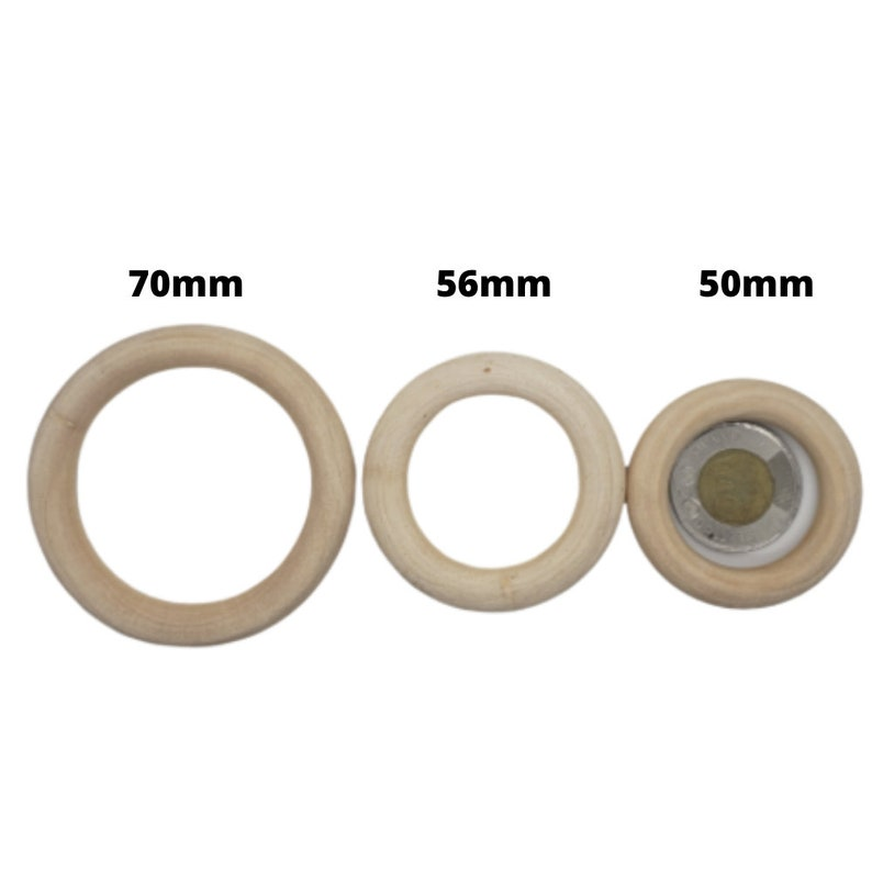 Natural Wood Rings 50mm Wooden Circles natural Wood  Baby image 0