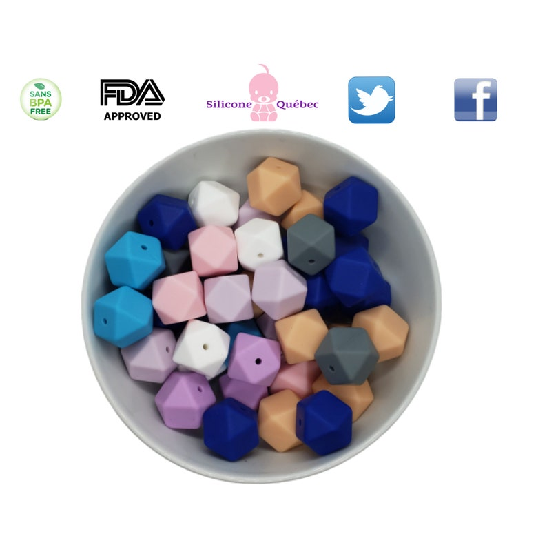 Hexagon silicone bead 17mm with hole  teething teether baby Mauve pâle