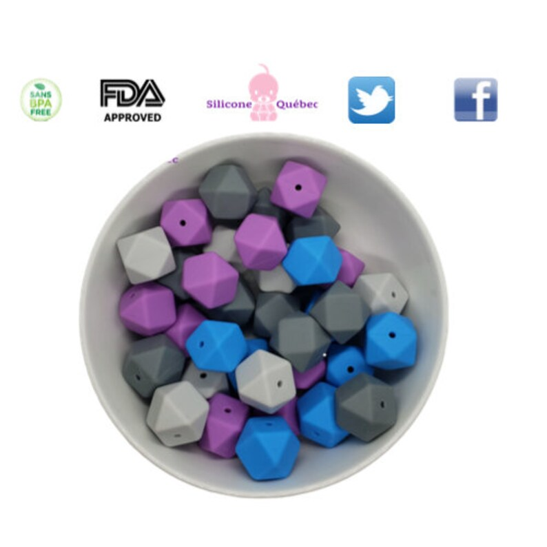 Hexagon silicone bead 17mm with hole  teething teether baby image 0