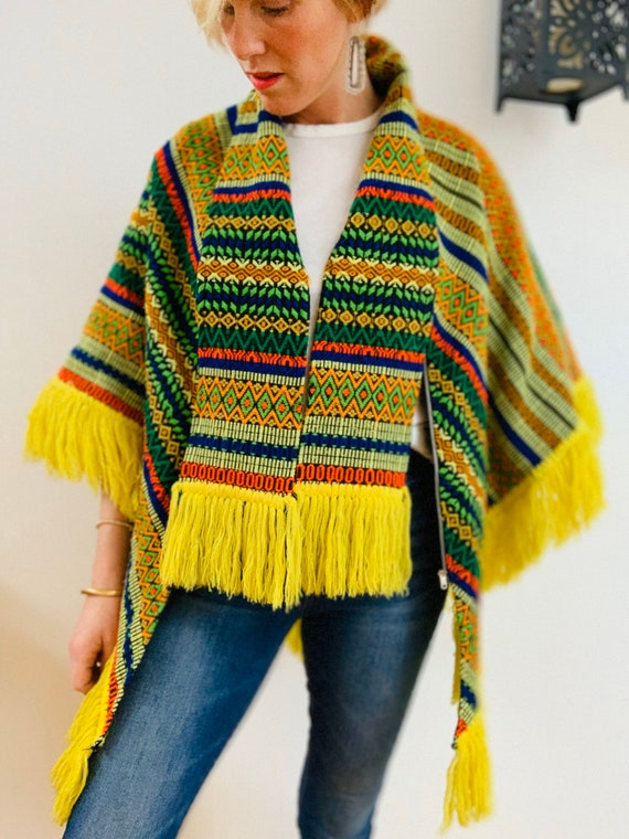 Embroidered Brightly Coloured 70's Poncho - image 6