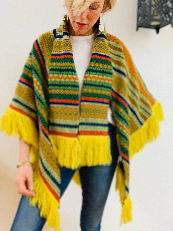 Embroidered Brightly Coloured 70's Poncho - image 4